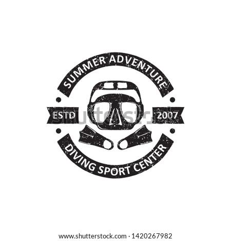 vintage diving badges labels, emblems and logo