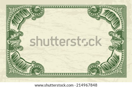 vintage dollar frame as money