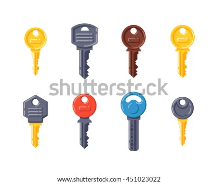 Vintage door key isolated on white background. Different house keys design elements. House security safety tool