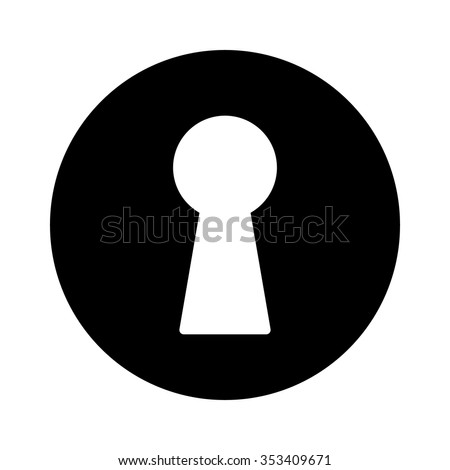 Vintage door keyhole access flat icon for apps and websites