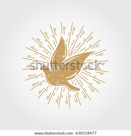 Vintage dove with sunburst. pigeon logo symbol