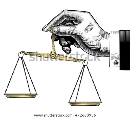Vintage drawing of hand with old Weight Scales. Vector illustration