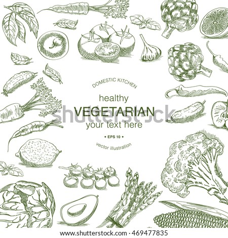 Vintage drawing of vegetables background with different sorts of vegetable.