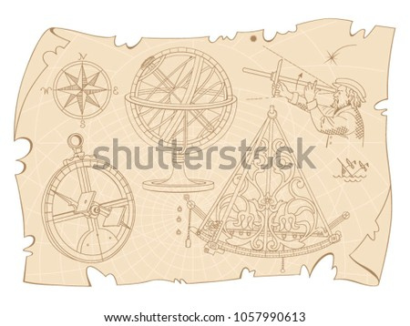 Vintage drawing with the image of navigation tools