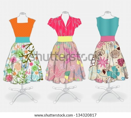 Vintage dress background for design,  vector - stock vector