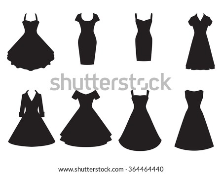 Vintage dresses silhouette vector set. Black retro dresses illustration