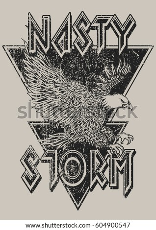 Vintage Eagle Rock GraphicFashion T-shirt