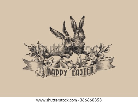 Vintage easter bunnies with eggs and willow branches. Vector illustration