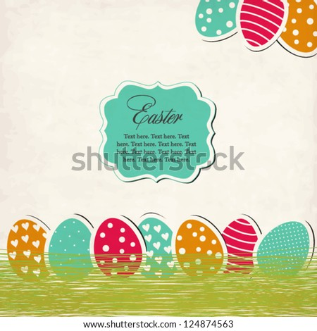 Vintage Easter card with eggs