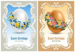 Vintage Easter cards with spring flowers and egg