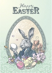 Vintage easter postcard with rabbit, with little chicken and flowers, framed oval frame, in colors.