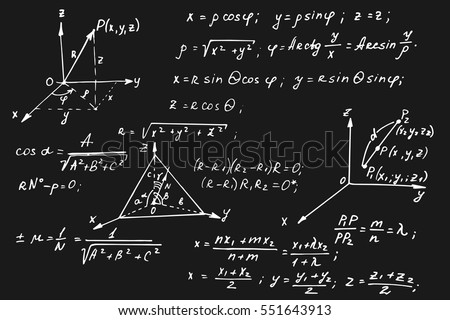 Vintage education and scientific background. Geometry law theory and mathematical formula equation on blackboard. Vector hand-drawn illustration.