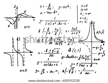 Vintage education and scientific background. Math law theory and mathematical formula, equation and scheme on whiteboard. Vector hand-drawn illustration.