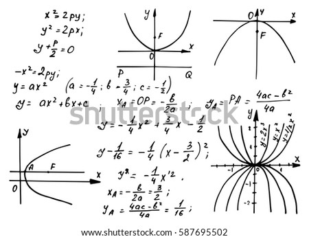 Vintage education and scientific background. Trigonometry law theory and mathematical formula equation on whiteboard. Vector hand-drawn scheme.