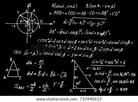 Vintage education and scientific background. Trigonometry law theory and mathematical formula equation on school board. Vector hand-drawn illustration.