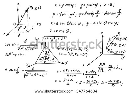Vintage education background. Geometry law theory and mathematical formula equation on whiteboard. Vector hand-drawn illustration.