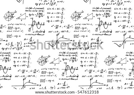 Vintage education background. Trigonometry law theory and mathematical formula equation on whiteboard. Vector hand-drawn seamless pattern.