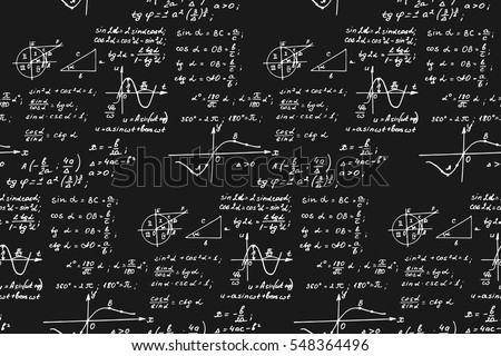 Vintage education background. Trigonometry law theory and mathematical formula equation on blackboard. Vector hand-drawn seamless pattern.