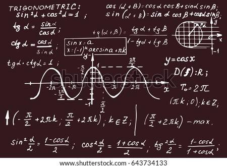 Vintage education background. Trigonometry law theory and mathematical formula equation on blackboard. Vector hand-drawn illustration.