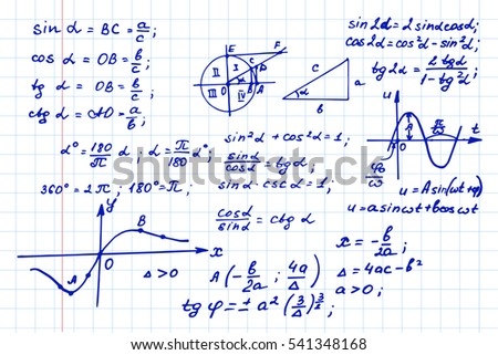 Vintage education background. Trigonometry law theory and mathematical formula equation on notebook page. Vector hand-drawn illustration.