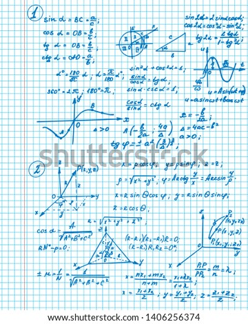Vintage education background. Trigonometry law theory and mathematical formula equation on workbook. Vector hand-drawn illustration.