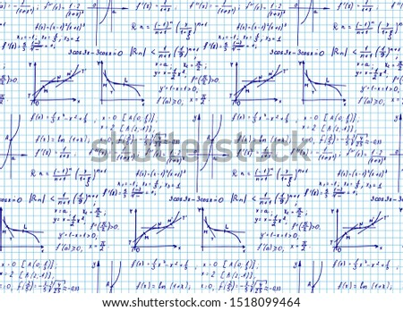 Vintage education background. Trigonometry law theory and mathematical formula equation on workbook page. Vector hand-drawn seamless pattern.