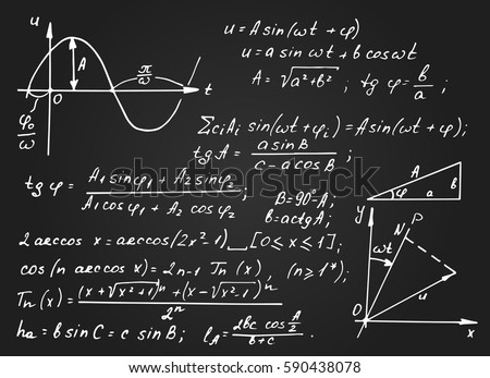 Vintage educational and scientific background.  Math law theory and mathematical formula equation,  schedule on blackboard. Vector hand-drawn chalkboard.