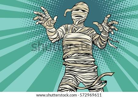 Vintage Egyptian mummy horror movie and Halloween, pop art retro vector illustration