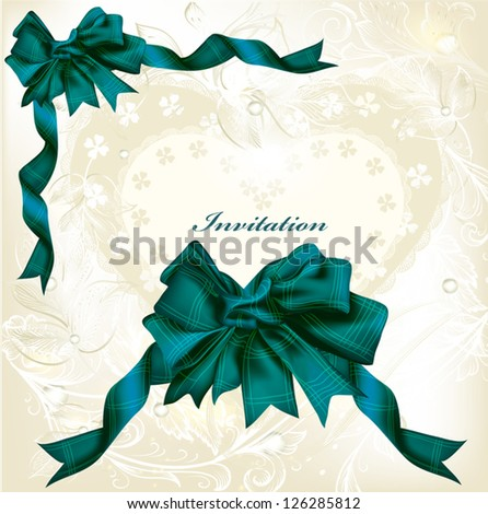 Vintage elegant  background with bow and ribbon - stock vector