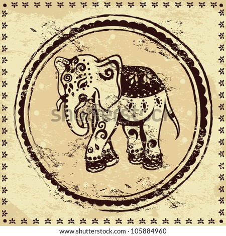 Vintage elephant illustration with ethnic ornament