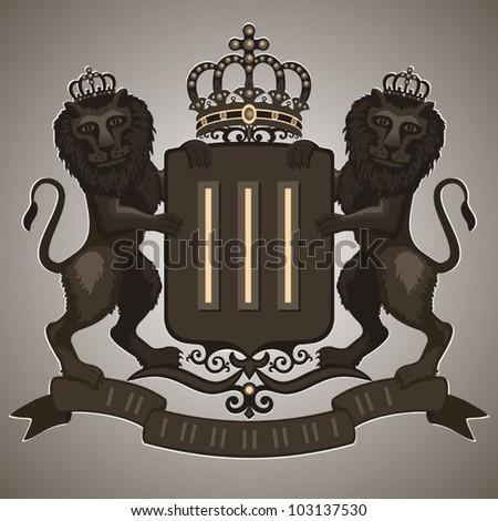 Vintage emblem. Emblem antique, coat of arms: lions hold the shield, crown, banner. Vector illustration.