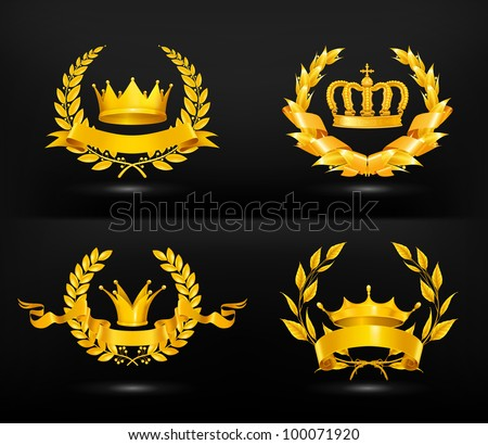 Vintage emblem, vector set on black