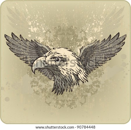 Vintage emblem with an eagle's head and wings. Vector illustration