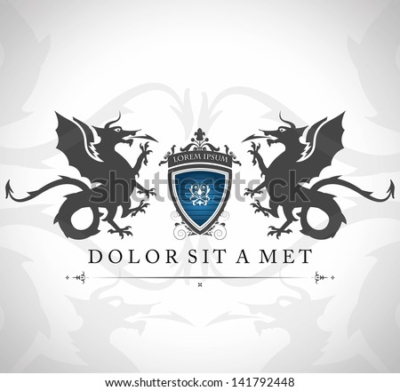 vintage emblem with dragons
