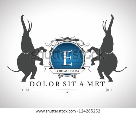 Vintage emblem with elephants  , with a place for Your text