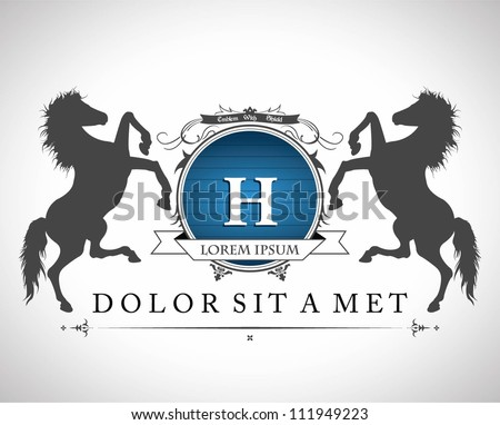 vintage emblem with horses with ...