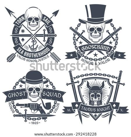 vintage emblem with skull  well