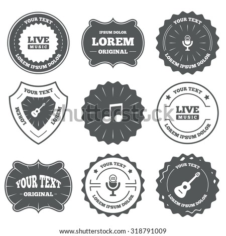 Vintage emblems, labels. Musical elements icons. Microphone and Live music symbols. Music note and acoustic guitar signs. Design elements. Vector