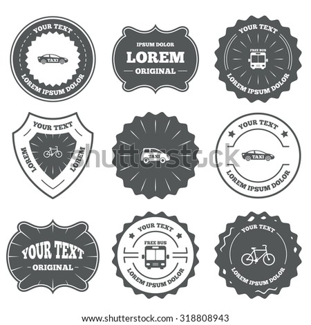 Vintage emblems, labels. Public transport icons. Free bus, bicycle and taxi signs. Car transport symbol. Design elements. Vector