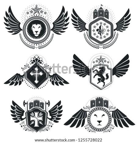 Vintage emblems, vector heraldic designs. Coat of Arms collection, vector set.