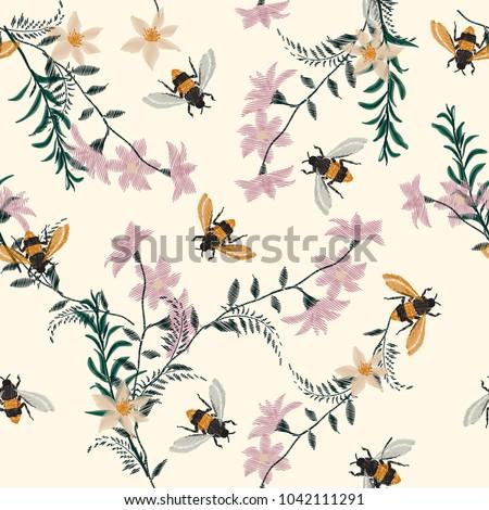 vintage embroidery honey bee