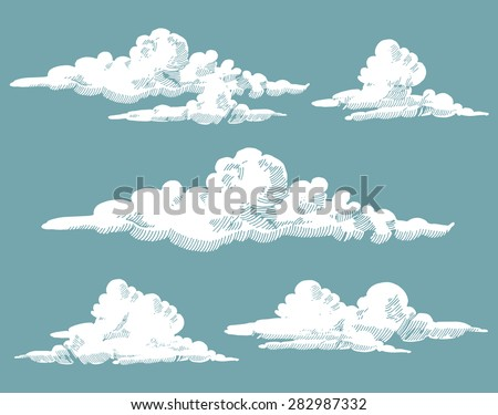 vintage engraved clouds. vector ...