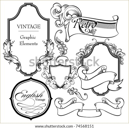 Vintage engraved decorative ornate vector frames in Victorian style - there is a place for text or message