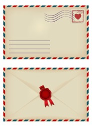 vintage envelope with heart stamp and wax seal