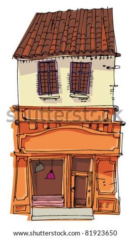 vintage facade - stock vector