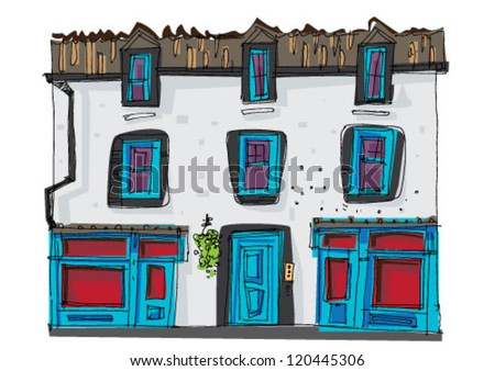 vintage facade - edinburgh - cartoon
