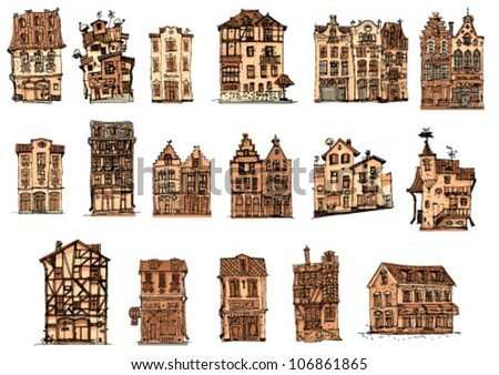 vintage facades   set   cartoon ...