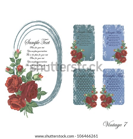 vintage faded frames and cards of blue and turquoise and aquamarine with roses from scratches and scuffs