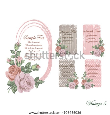 vintage faded frames and cards of brown and pink and beige color with ashen roses with scratches and scuffed
