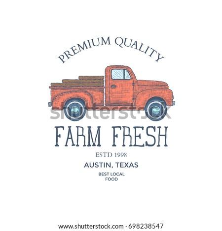 Vintage farm food logo. Engraved logo. Vector illustration